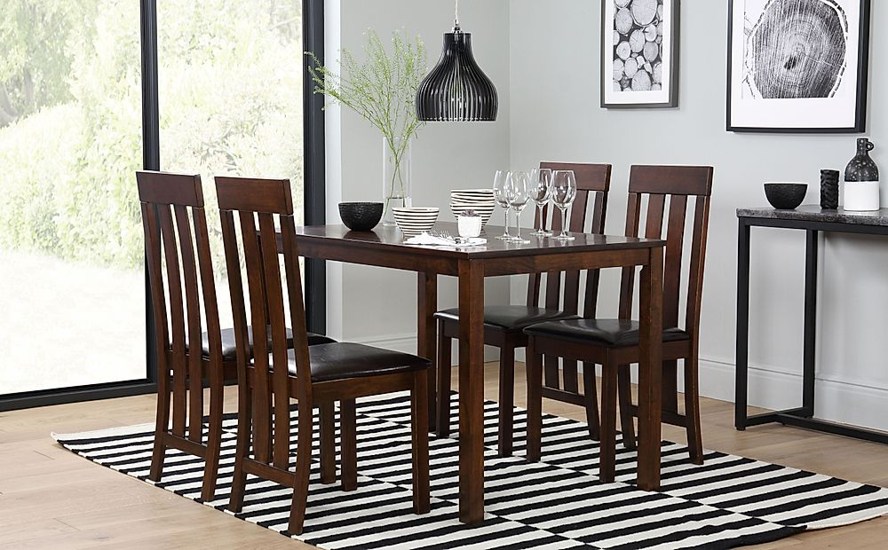Milton Dark Wood Dining Table with 4 Chester Chairs (Brown Seat Pad)
