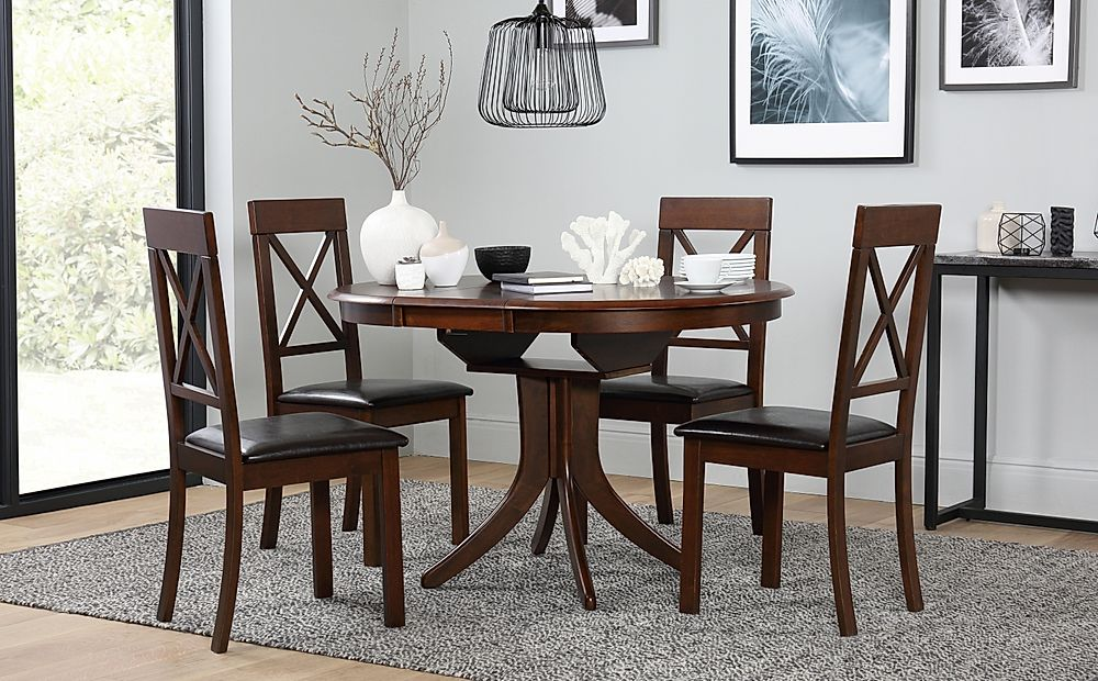 Hudson Round Dark Wood Extending Dining Table with 6 Kendal Chairs (Brown Seat Pad)