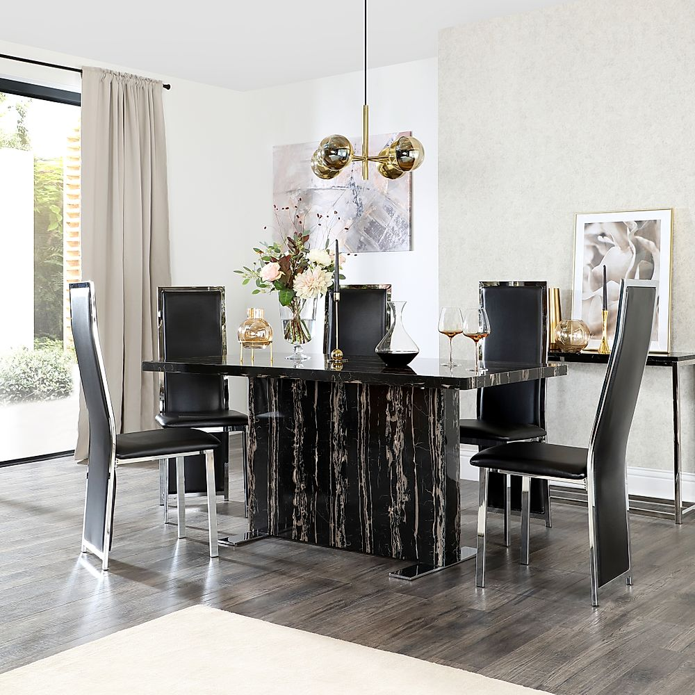 Magnus Black Marble Dining Table with 4 Celeste Black Leather Chairs