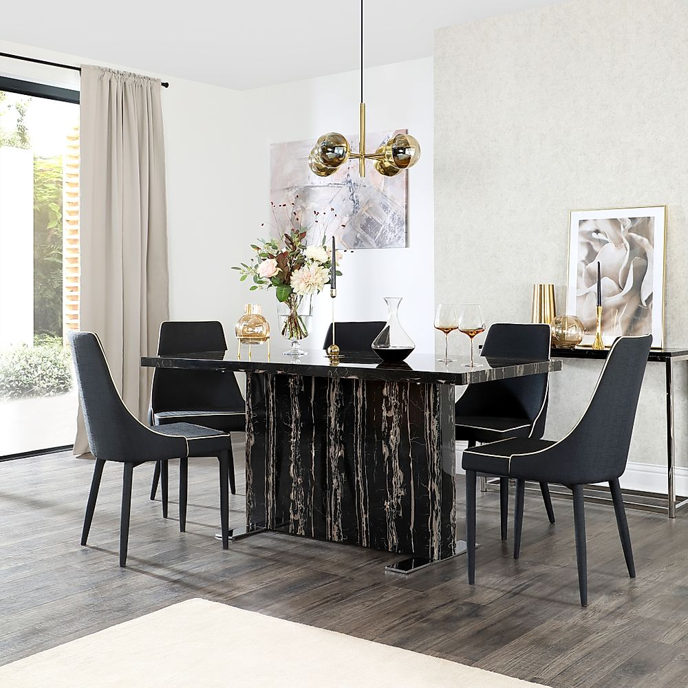 Magnus Black Marble Dining Table with 4 Modena Black Fabric Chairs