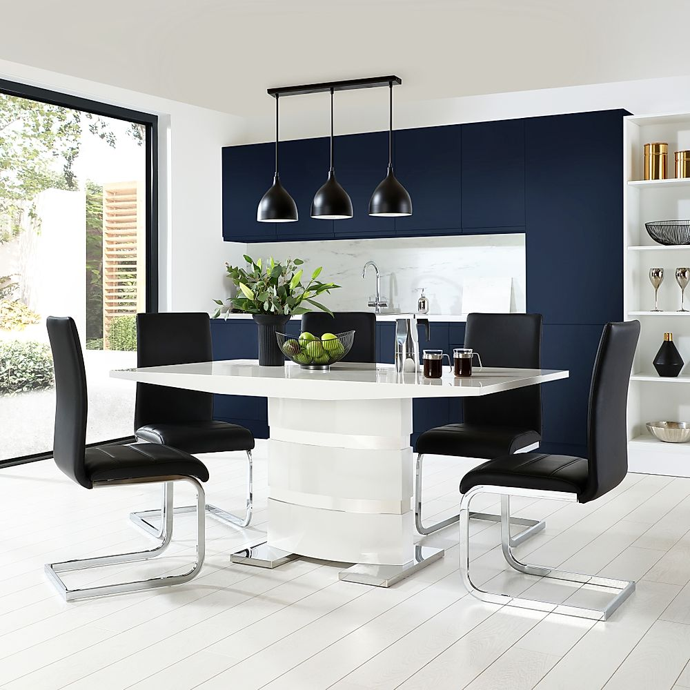 Komoro White High Gloss Dining Table with 6 Perth Black Leather Chairs