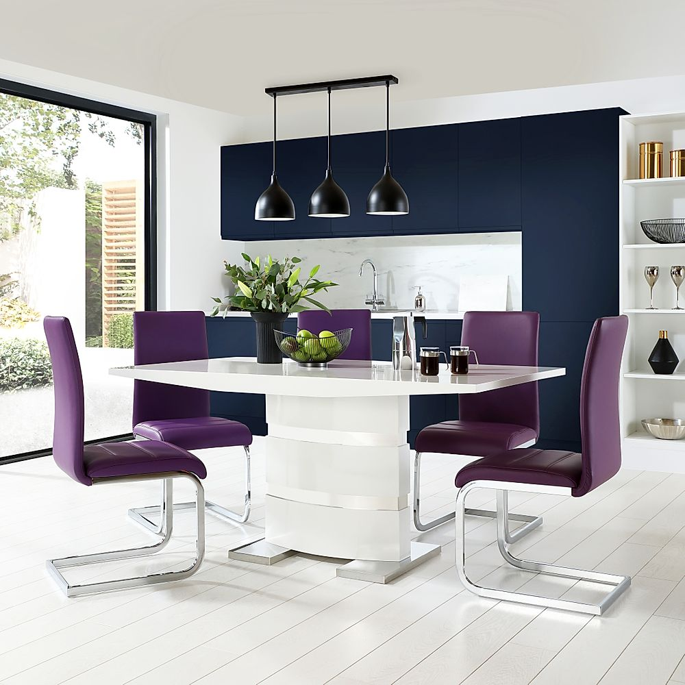 Komoro White High Gloss Dining Table with 6 Perth Purple Chairs