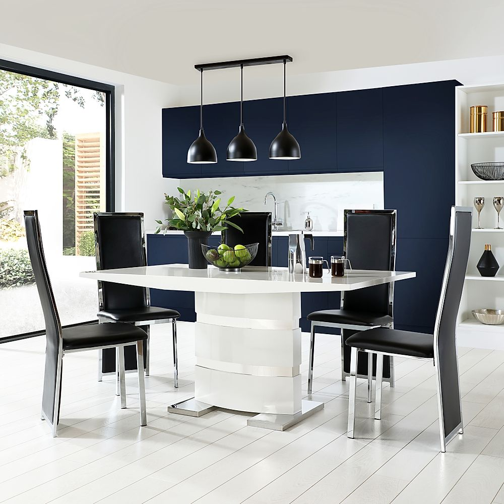 Komoro White High Gloss Dining Table with 6 Celeste Black Leather Chairs