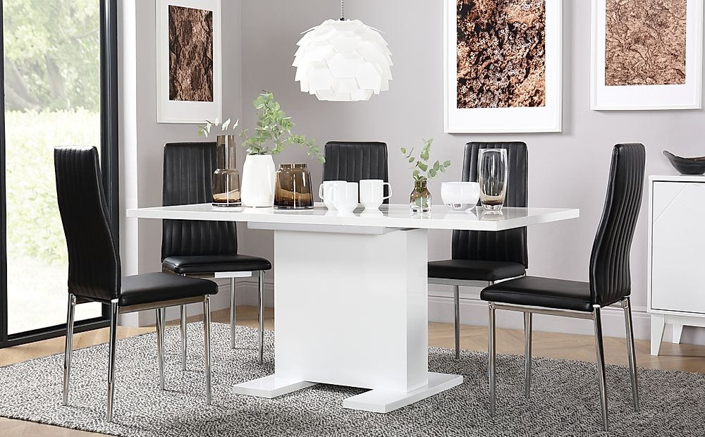 Osaka White High Gloss Extending Dining Table with 6 Leon Black Chairs (Chrome Legs)