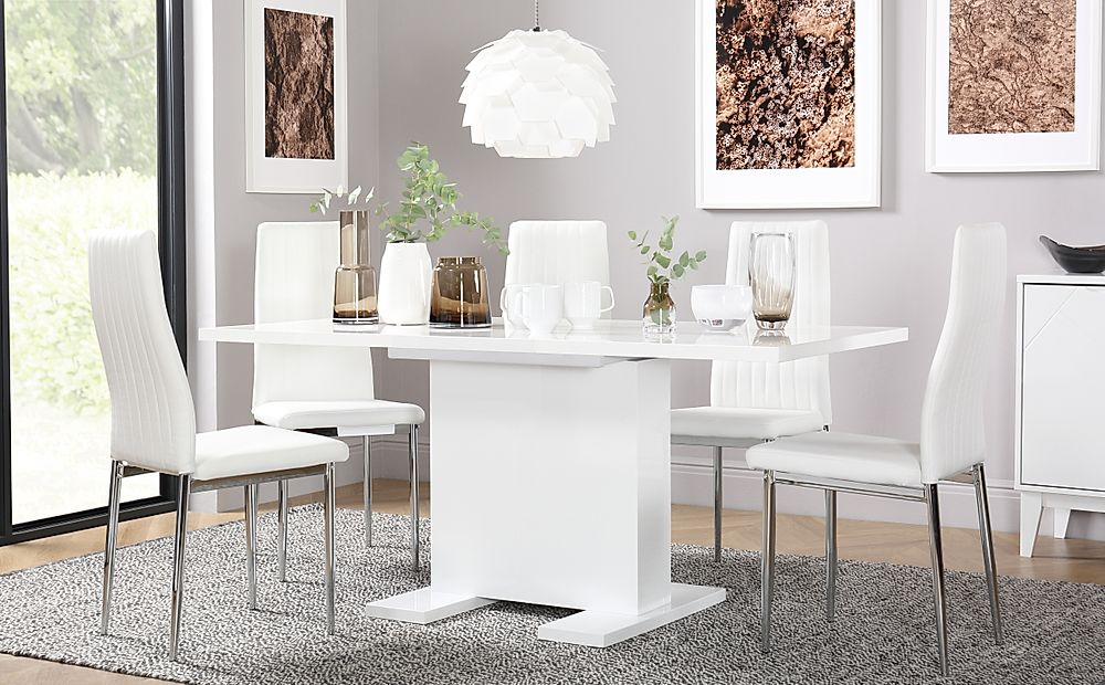 Osaka White High Gloss Extending Dining Table with 6 Leon White Chairs (Chrome Legs)