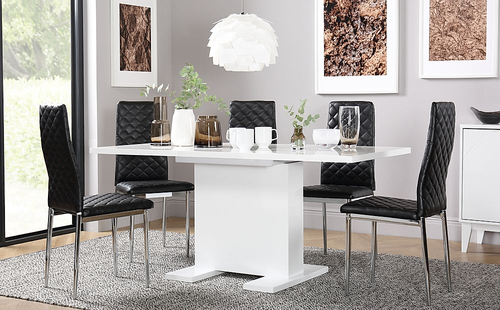 Osaka White High Gloss Extending Dining Table with 6 Renzo Black Chairs (Chrome Legs)