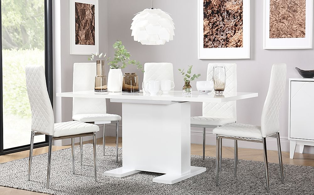 Osaka White High Gloss Extending Dining Table with 4 Renzo White Chairs (Chrome Legs)