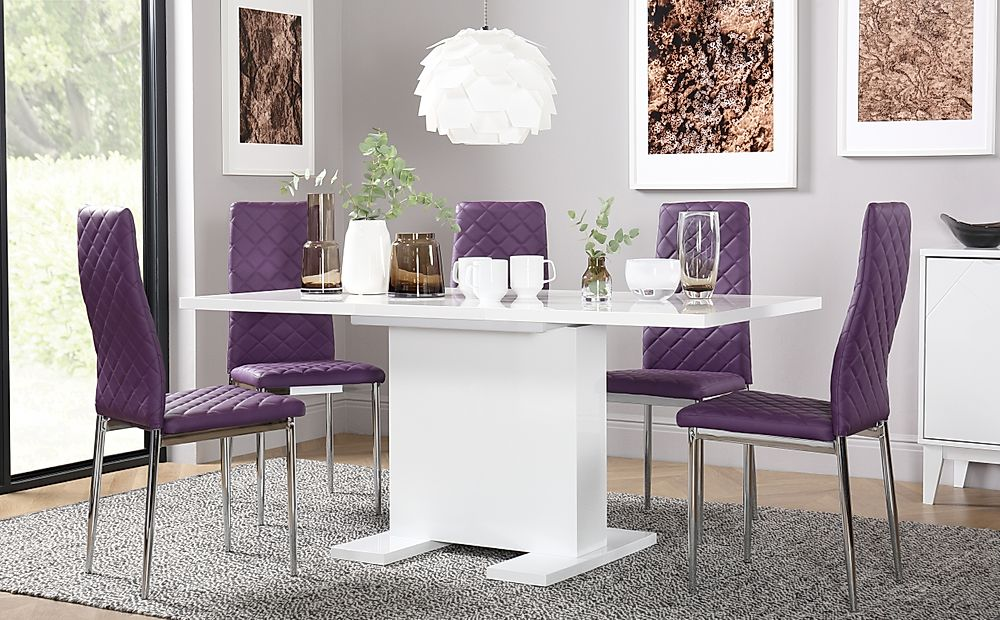 Osaka White High Gloss Extending Dining Table with 6 Renzo Purple Chairs (Chrome Legs)