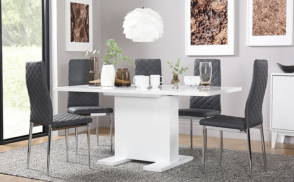 Osaka White High Gloss Extending Dining Table with 6 Renzo Grey Chairs (Chrome Legs)