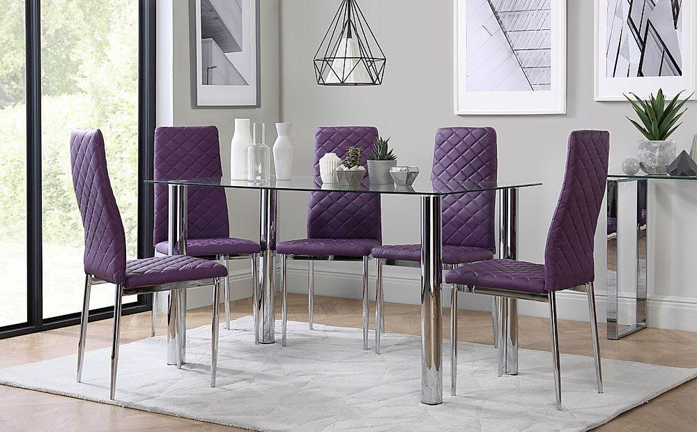 Lunar Chrome and Glass Dining Table with 6 Renzo Purple Chairs