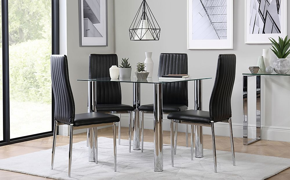 Nova Square Glass and Chrome Dining Table with 4 Leon Black Leather Chairs