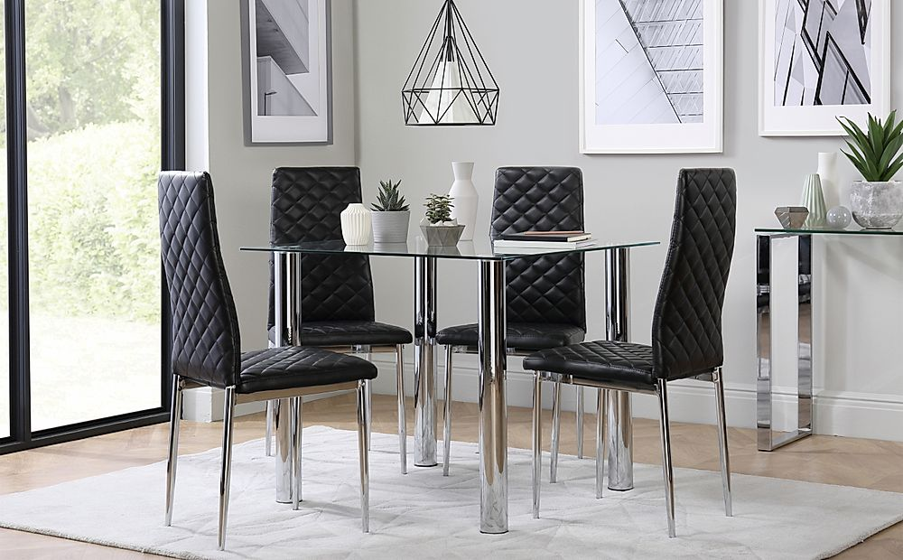 Nova Square Chrome and Glass Dining Table with 4 Renzo Black Chairs