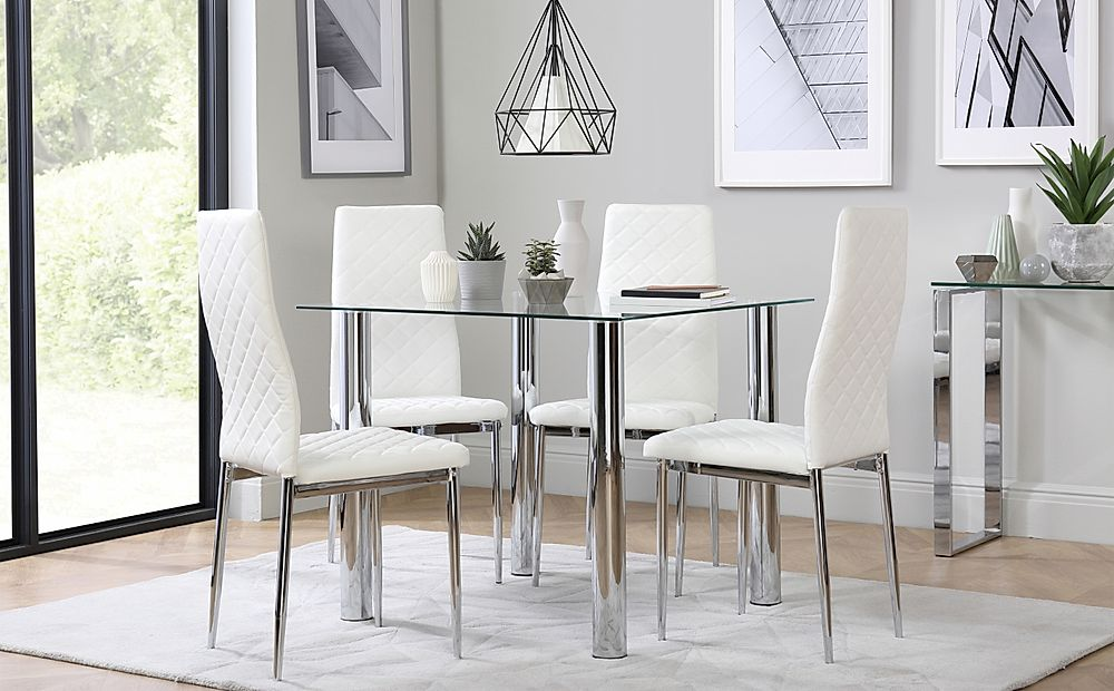 Nova Square Chrome and Glass Dining Table with 4 Renzo White Chairs