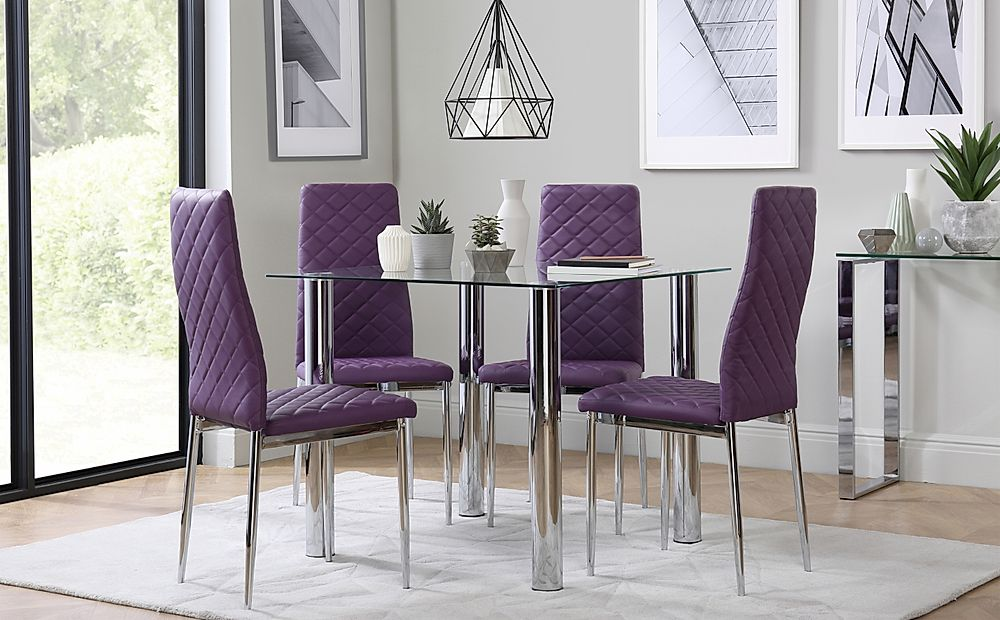 Nova Square Chrome and Glass Dining Table with 4 Renzo Purple Chairs