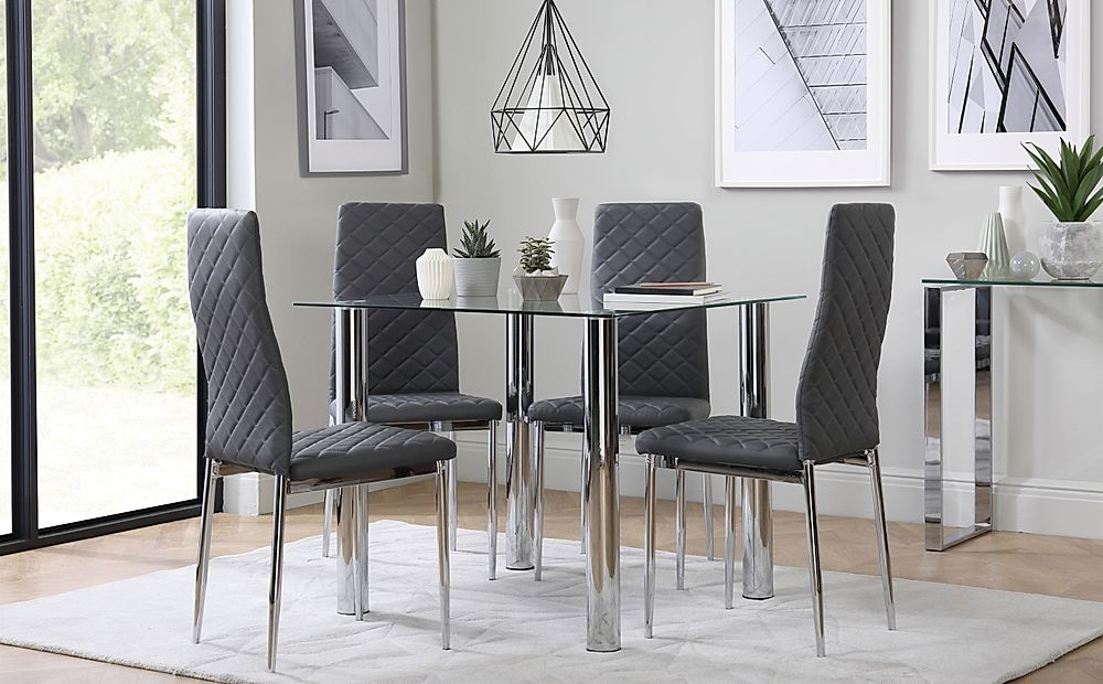 Nova Square Chrome and Glass Dining Table with 4 Renzo Grey Chairs