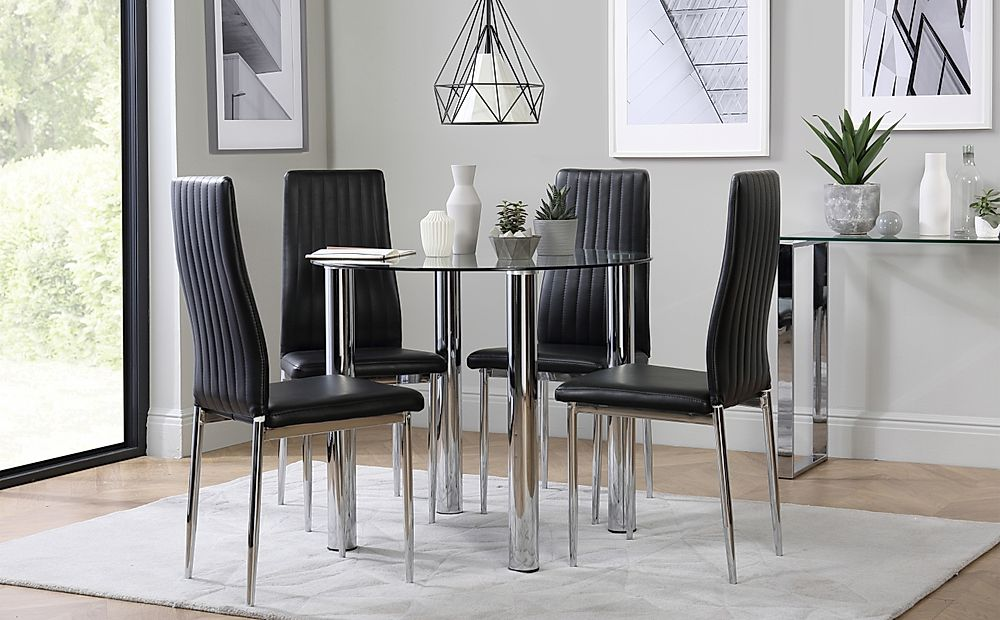 Solar Round Chrome and Glass Dining Table with 4 Leon Black Chairs
