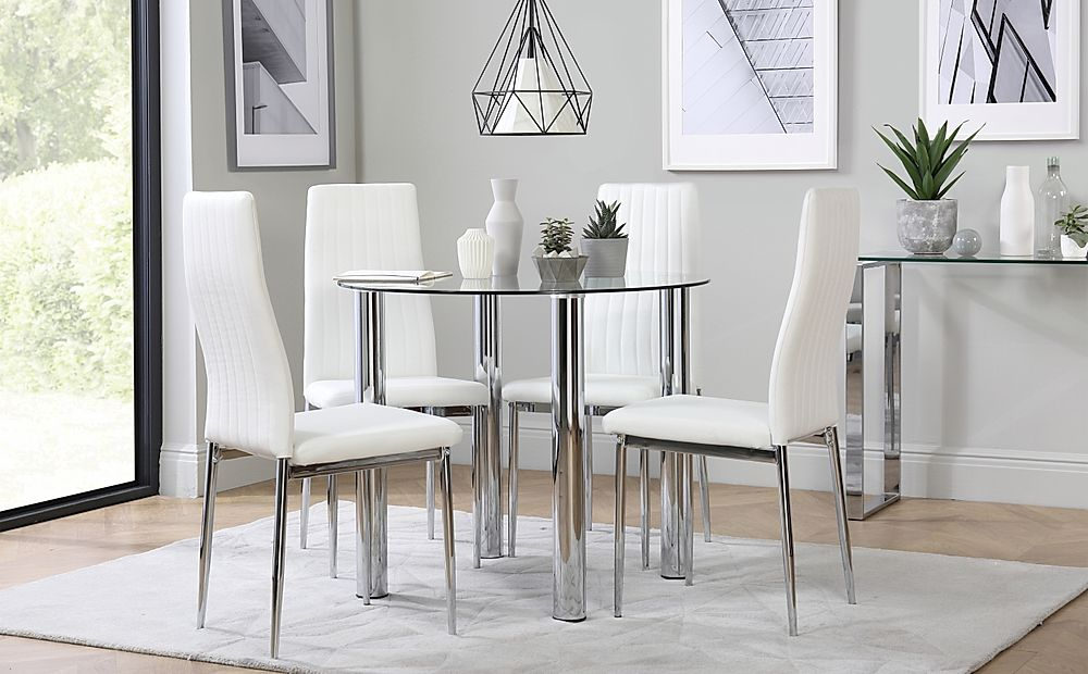 Solar Round Chrome and Glass Dining Table with 4 Leon White Chairs