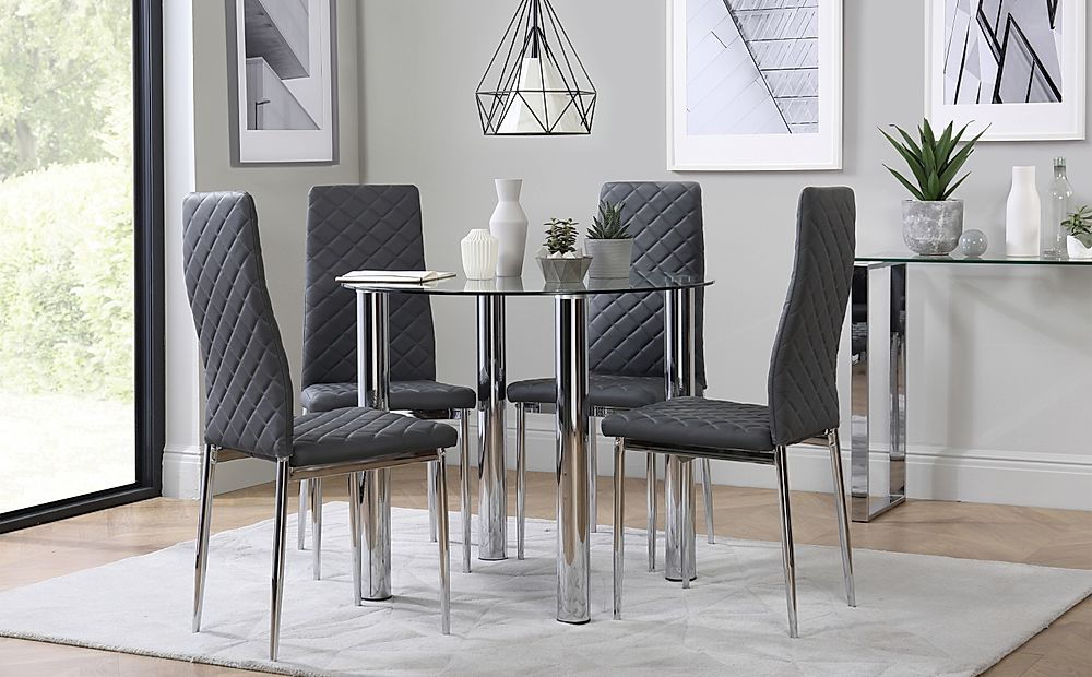 Solar Round Chrome and Glass Dining Table with 4 Renzo Grey Chairs