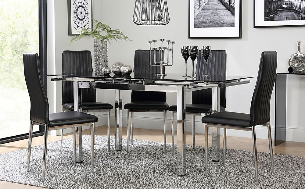Space Chrome & Black Glass Extending Dining Table with 6 Leon Black Chairs