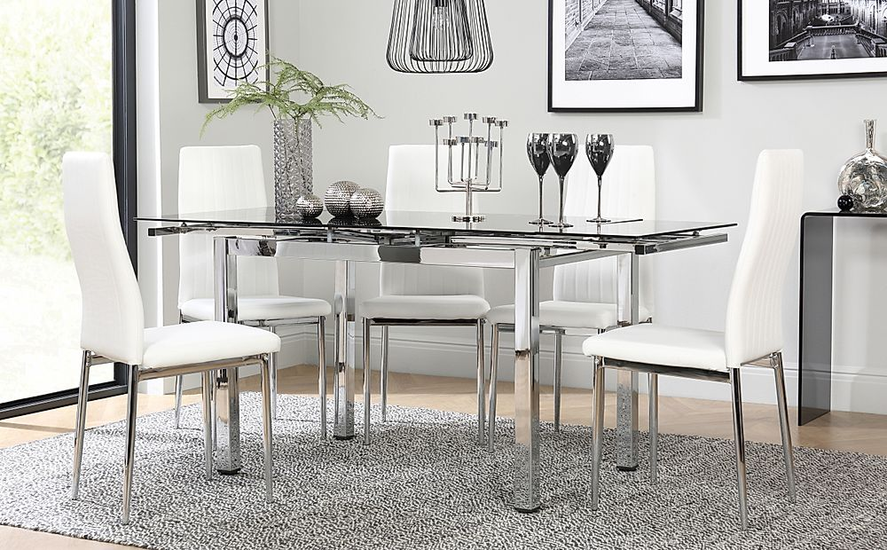 Space Chrome and Black Glass Extending Dining Table with 6 Leon White Leather Chairs