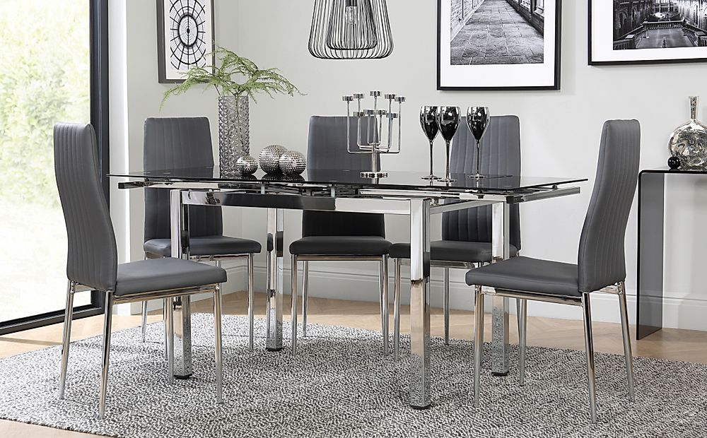 Space Chrome and Black Glass Extending Dining Table with 6 Leon Grey Leather Chairs