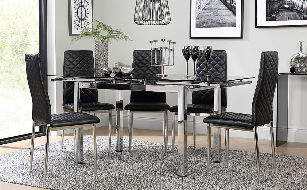 Space Chrome & Black Glass Extending Dining Table with 4 Renzo Black Chairs