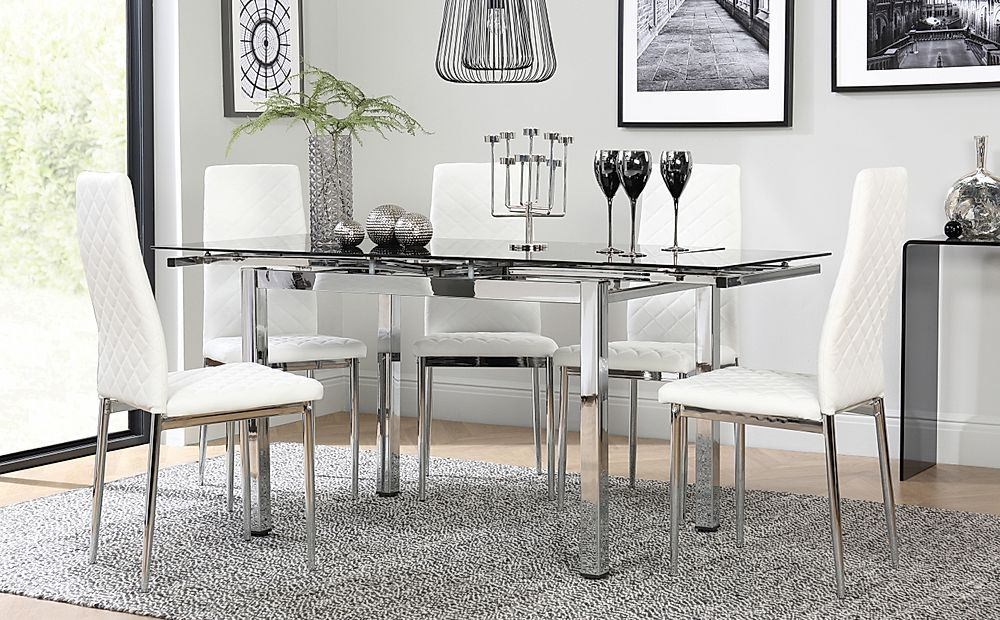 Space Chrome and Black Glass Extending Dining Table with 4 Renzo White Leather Chairs