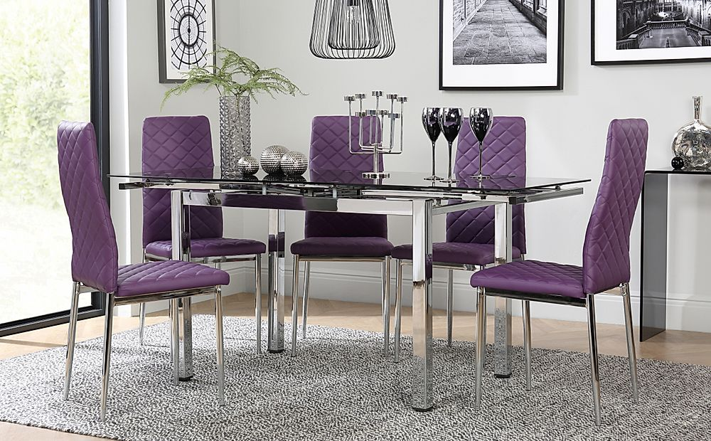 Space Chrome & Black Glass Extending Dining Table with 6 Renzo Purple Chairs