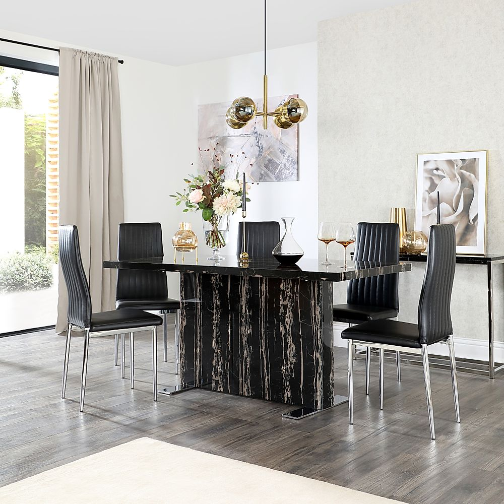 Magnus Black Marble Dining Table with 6 Leon Black Leather Chairs