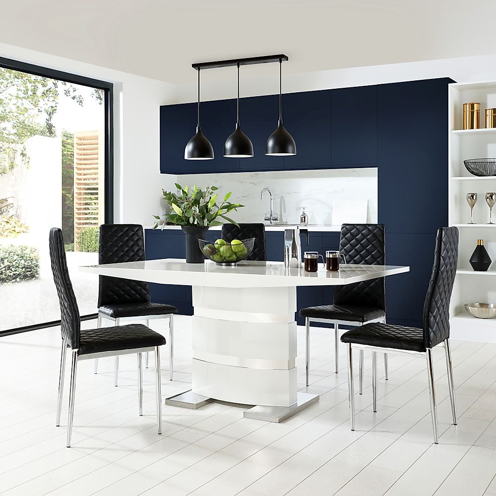 Komoro White High Gloss Dining Table with 4 Renzo Black Chairs