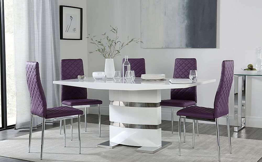 Komoro White High Gloss Dining Table with 4 Renzo Purple Chairs