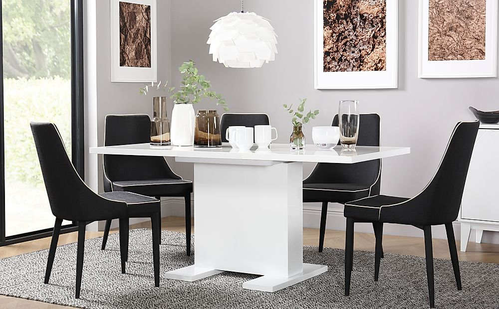 Osaka White High Gloss Extending Dining Table with 4 Modena Black Chairs