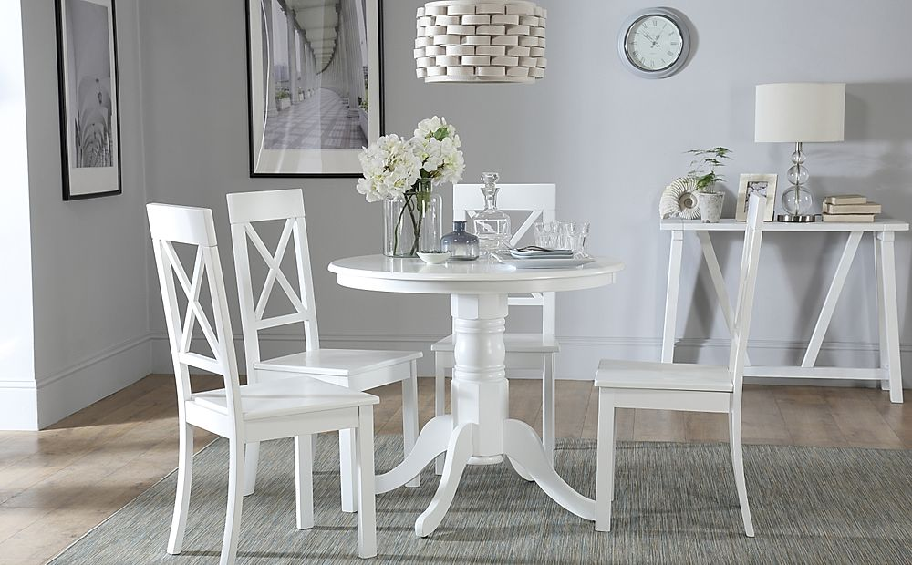 Kingston Round White Dining Table with 4 Kendal Chairs