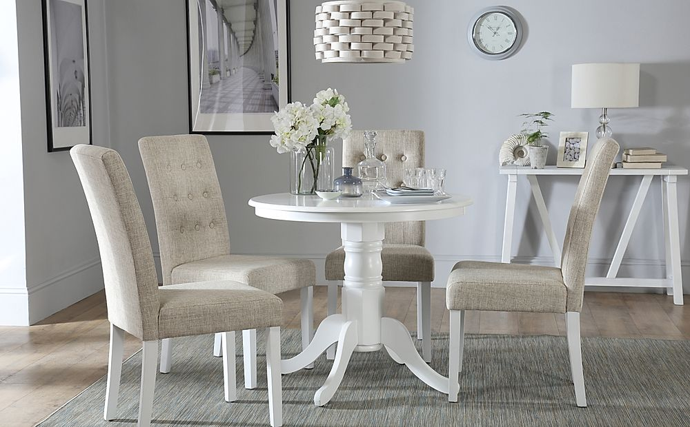 Kingston Round White Dining Table with 4 Regent Oatmeal Chairs