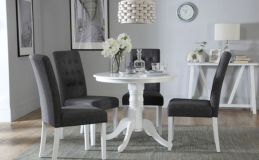Kingston Round White Dining Table with 4 Regent Slate Chairs
