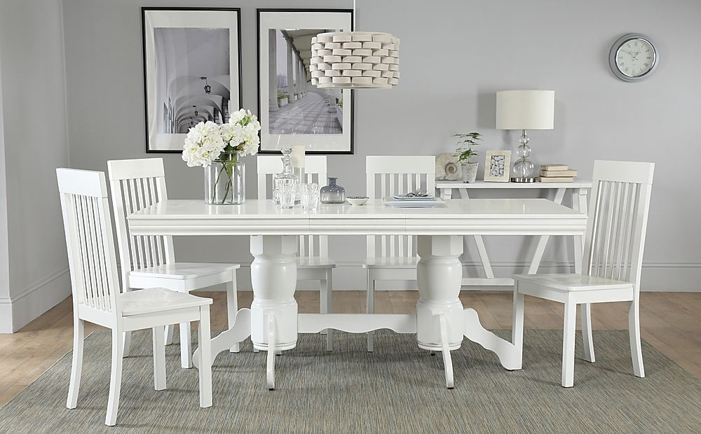 Chatsworth White Extending Dining Table with 4 Oxford Chairs