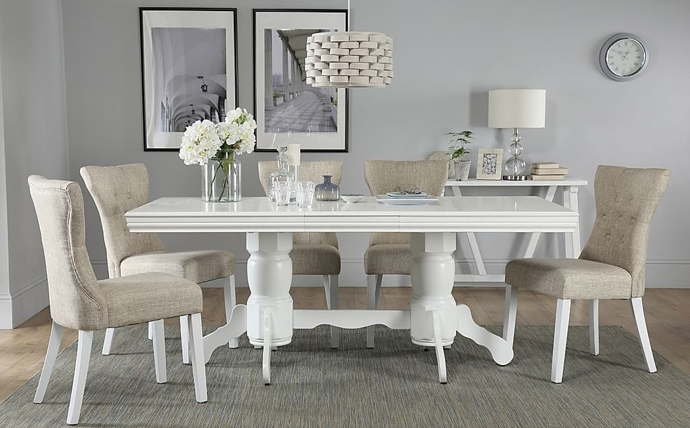 Chatsworth White Extending Dining Table with 4 Bewley Oatmeal Fabric Chairs