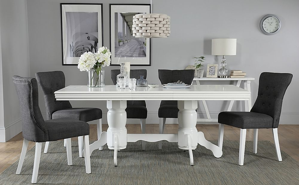 Chatsworth White Extending Dining Table with 4 Bewley Slate Fabric Chairs