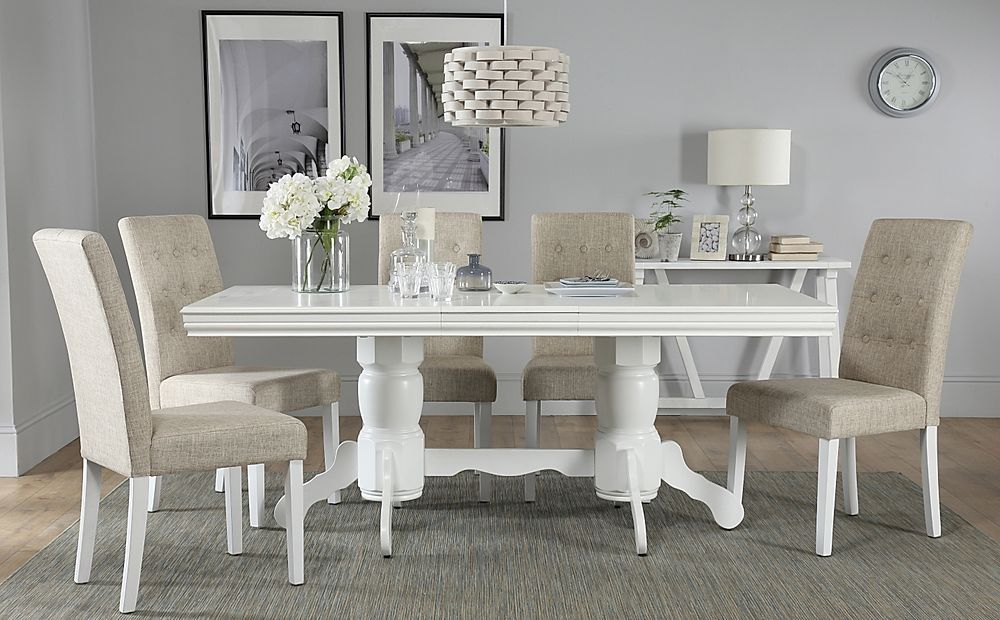 Chatsworth White Extending Dining Table with 4 Regent Oatmeal Fabric Chairs