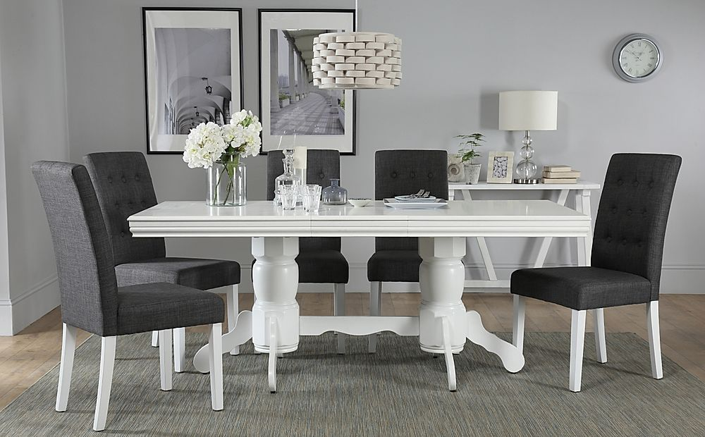 Chatsworth White Extending Dining Table with 6 Regent Slate Chairs