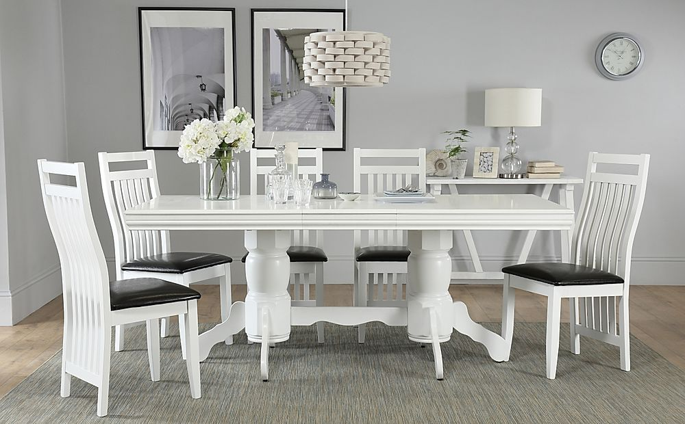 Chatsworth White Extending Dining Table with 4 Java Chairs (Black Leather Seat Pads)
