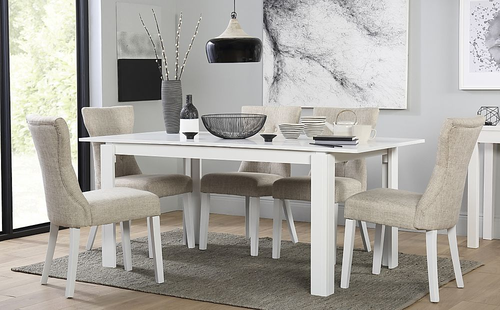 Aspen White Extending Dining Table with 6 Bewley Oatmeal Chairs