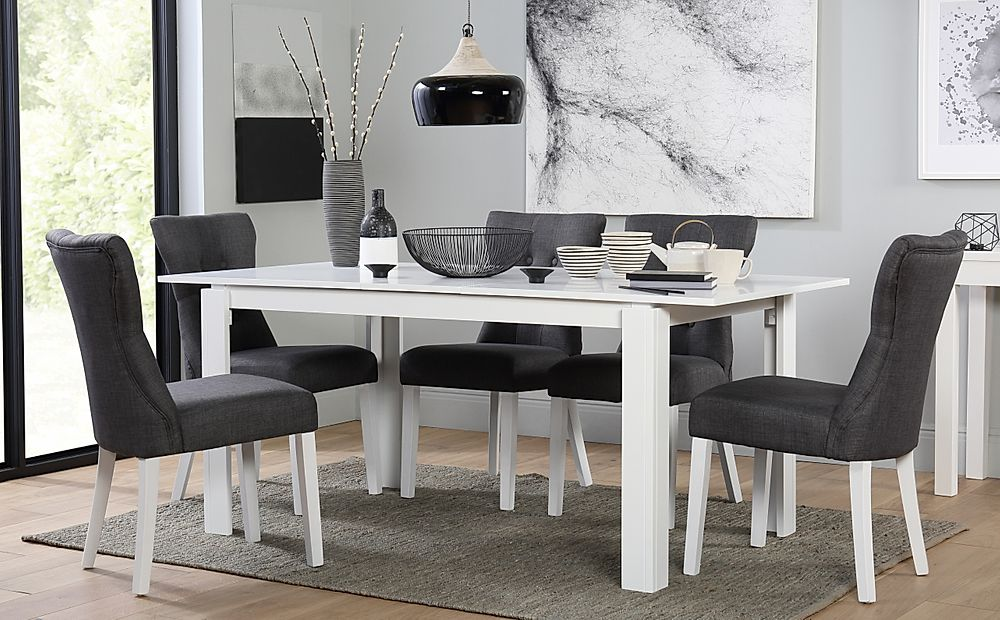 Aspen White Extending Dining Table with 6 Bewley Slate Fabric Chairs