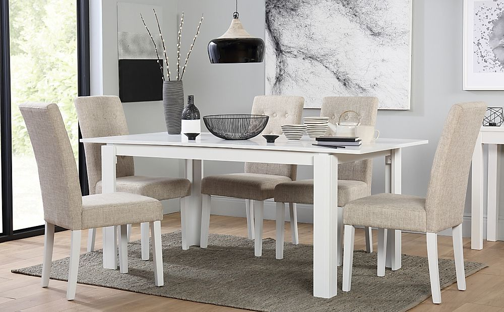 Aspen White Extending Dining Table with 6 Regent Oatmeal Fabric Chairs