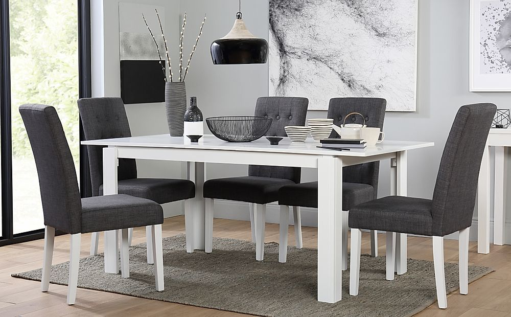 Aspen White Extending Dining Table with 4 Regent Slate Chairs