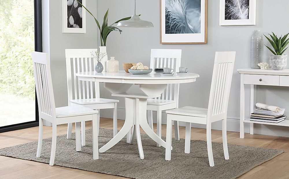 Hudson Round White Extending Dining Table with 4 Oxford Chairs