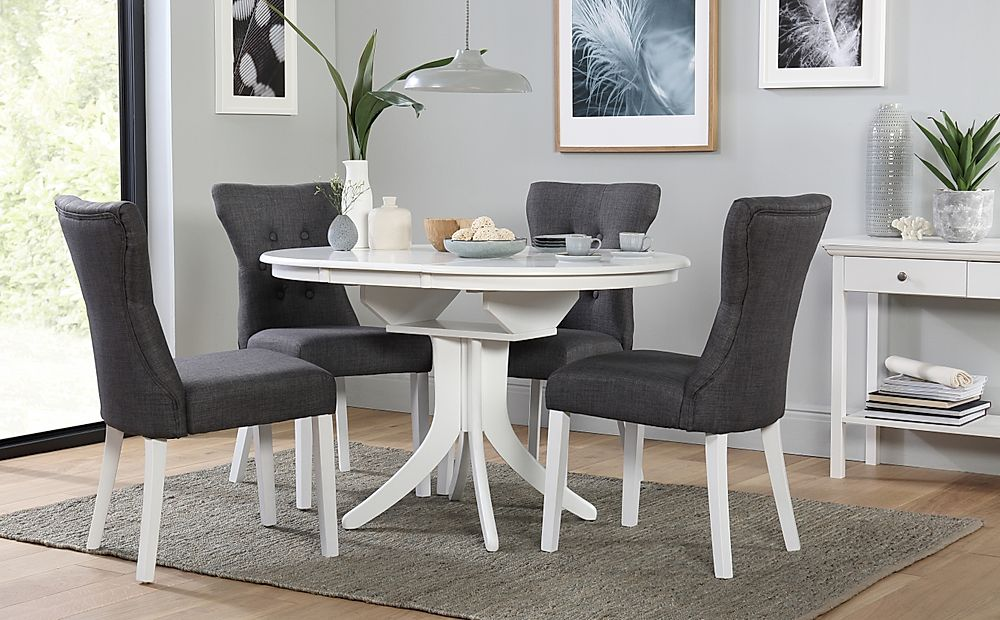 Hudson Round White Extending Dining Table with 4 Bewley Slate Fabric Chairs
