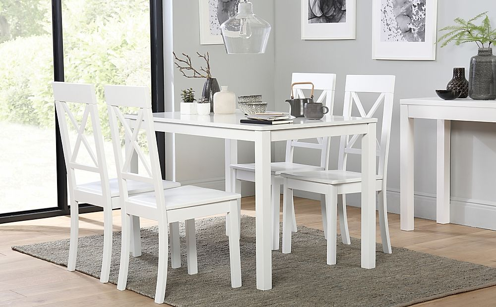 Milton White Dining Table with 6 Kendal Chairs