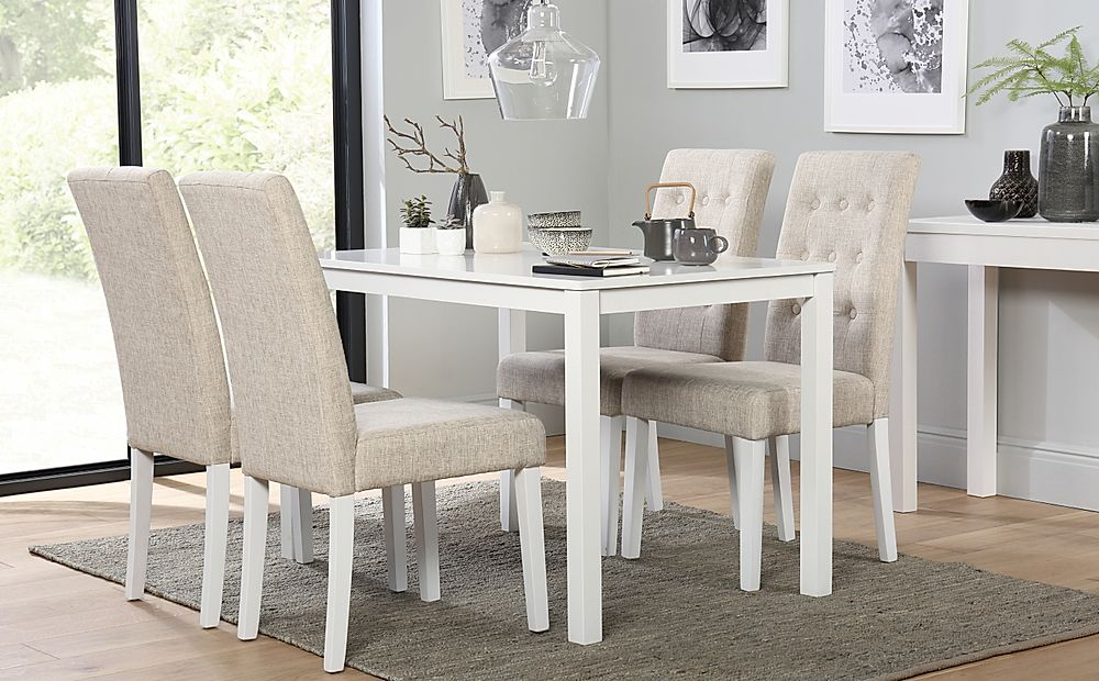 Milton White Dining Table with 6 Regent Oatmeal Chairs