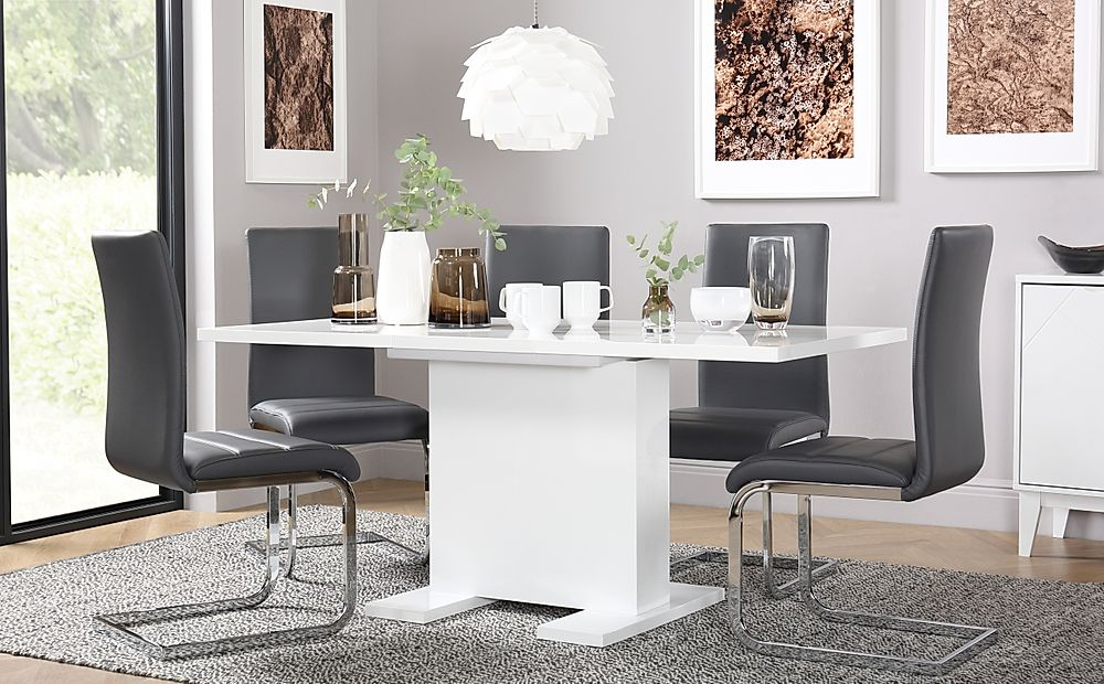 Osaka White High Gloss Extending Dining Table with 4 Perth Grey Leather Chairs